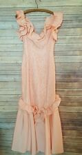 Vintage Peach Mermaid Formal Gown Prom Dress Puffy Off Shoulder Long 1980 1990