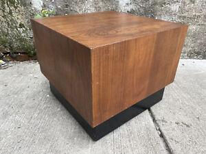 1960s Mid Century Walnut Cube Stool With Square Orange Vintage Cushion
