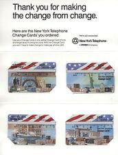 U.S.A. FOLDER 4 SCHEDE NEW YORK TELEPHONE CHANGE CARD STUPENDE