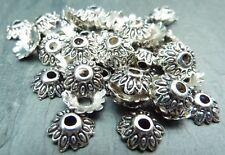 50 Tibetan Style Flower Bead Caps Vintage Antique silver 8mm, LF NF CF Bracelet