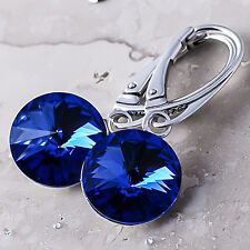 925 Sterling Silver Leverback Dangle Earrings SAPPHIRE Crystals from Swarovski®
