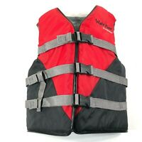 Wake Force Stearns Flotation Life Jacket Vest Youth Long Chest 26-29 Black Red