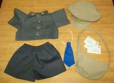 """15-17""""CPK Cabbage Patch Kids MAILMAN OUTFIT SHIRT PANTS TIE HAT BAG LETTERS"""