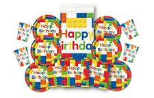 Block Birthday Party Pack for 16 ~ Brick, Lego Themed, Plates, Cups, Napkins+