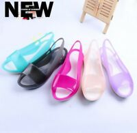 Women's Flat Summer Beach Open Toe Smooth Soft Jelly Sandals Shoes Sizes