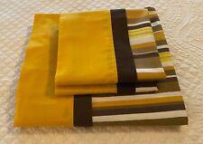 Pequot Muslin Full Top Sheet Standard Pillowcases USA Yellow Gold Brown Stripe