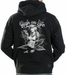 Marilyn Monroe High on Life Hooded Sweat Shirt ~ Sexy Pinup Hoodie Weed Pot