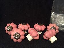 7 Antiqued Vintage Style Ceramic Cabinet Drawer Knobs Light Pink Hardware Incl