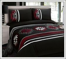 280TC Black Burgundy White Embroidery Pintuck Panel QUEEN QUILT DOONA COVER SET