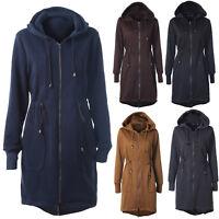 Women's Ladies Hooded Trench Coat Winter Long Jacket Zipper Outerwear Overcoat