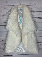 She + Sky Stitch Fix Women's S Small Ivory Open Draped Fuzzy Soft Vest NEW TAGS
