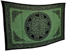 "Celtic Knot Green & Black Tapestry Blanket 72 x 108"" Wiccan Pagan Altar WTKMGGB"
