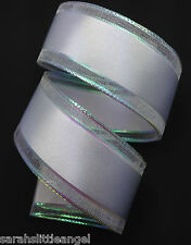 RIBBON with SHIMMER EDGES/WHITE, 1 Mtr,Gifts/Cards/Bows/Party/Birthday/Wedding