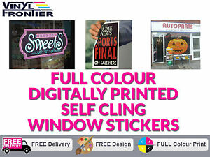 Full Colour Custom Printed Self/ Static Cling Window Stickers - No Adhesive!