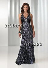 CUTTING EDGE! BEADED V-NECK FORMAL/EVENING/BALL/PROM LONG DRESS; BLACK AU16/US14
