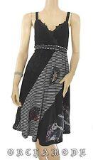 Robe Tunique FOR HER noir gris dentelle broderie T. M / L  38 / 40 NEUF Graphiqu