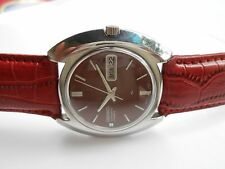 RARE VINTAGE SS JAPAN MADE MAROON DIAL SEIKO 5 D DATE MENS AUTOMATIC WRISTWATCH