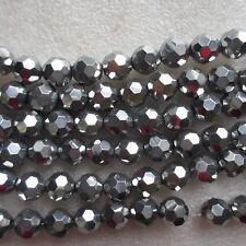 96 cristal perles de verre rondes à facettes argent métallisé 10 mm CRAFT fabrication de bijoux