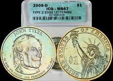 2009-D John Tyler Presidential Dollar ICG MS67 Green/Gold Toned