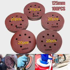 100Pcs 5Inch 8holes Sanding Disc Sandpaper 60/80/100/120/240Grit Polishing Pad