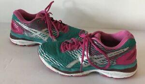 Asics GEL Nimbus 18 Mesh Running Shoe Womens 7.5 Teal Pink T650N