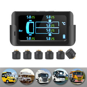 Solar Wireless TPMS Car Tire Tyre Pressure Monitoring System External 6 Sensors
