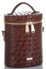 Brahmin Brynn Barrel Melbourne Pecan Embossed Leather Crossbody Zip Around NEW