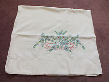 Collectible Pillowcase Hand Embroidery Blue Gold Pink Floral 30 x 18 Nice