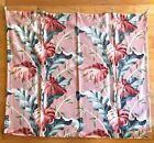 Pair 2 Coral Barkcloth Curtain Panels Vintage Colorful 1950's Vintage