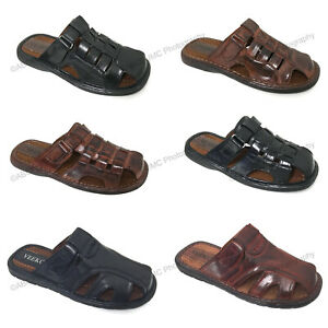 Brand New VEEKO Mens Slides Sandals Closed Toe Hook and Loop Fisherman Slipper