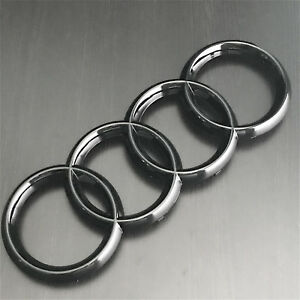 AUDI Piano Gloss Black Front Grille Rings Badge Logo Emblem Decoration Modified