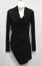 B0 Auth DONNA KARAN Black Label Jersey Cowl Neck Pleated Bodycon Dress Size S