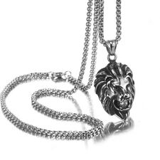Pendant Necklace Rolo Chain For Men Punk Silver Stainless Steel Crystal Lion
