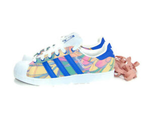 Adidas Sneakers White Blue Red Superstar x Farm Company Training Womens Size 7.5