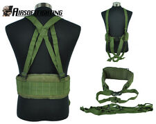 Hunting Molle Tactical Waist Padded Belt with H-shaped Suspender Paintball OD