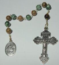 Natural Stone St Aloysius 1-Decade Rosary w/ Pardon Crucifix - Students & AIDS