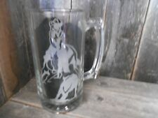 Western Decor Glassware Beer Mugs Glass 22 oz Cutting Horse Design-Lady-Etched