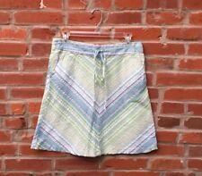 Vintage 90s Blue Green Striped Skirt Womens Drawstring Waist Pockets (1465)