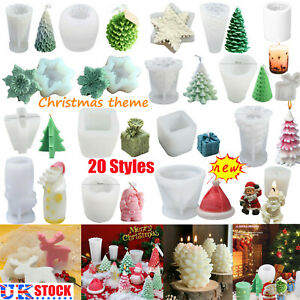 Christmas Candle Making Mold Santa Claus Christmas Tree Plaster Silicone Moulds