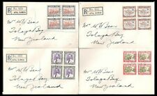 WESTERN SAMOA 1939 APIA SET OF FOUR BLOCKS REGISTERED COVERS (VF)