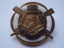 C1920S VINTAGE H.M.S.FURIOUS LIFEBELT SHAPE ENAMEL SWEETHEARTS PIN BROOCH