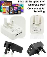 UK Plug Dual USB Port 2A 2 AMP Fast Charging Folding 3-Pin Wall Charger Adapter