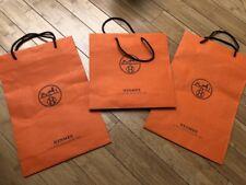 3 HERMES Orange Paper Shopping Bags! Rare Find!
