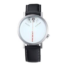 """Projects Watches """"Past, Present, Future"""" Acier Quartz Cuir Homme Montre Blanc"""