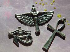 3 Large Egyptian Charms Goddess ISIS Eye of HORUS Ankh Pendants Silver Finish