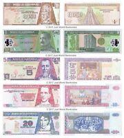 Guatemala 0.5 + 1 + 5 + 10 + 20 Quetzales Set of 5 Banknotes 5 PCS UNC