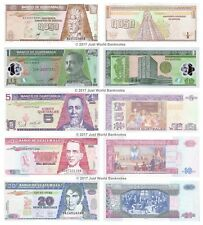 Guatemala 0.5 + 1 + 5 + 10 + 20 Quetzal Lot de 5 billets 5 pcs UNC