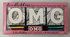 Art101 Doodlebliss 3 OMG 4x4 Canvas Art Set & Mini Markers