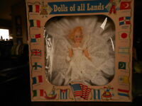 Vintage Dolls of All Lands White Dress Blond Box Cellophane is ripped