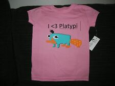 DISNEY STORE PERRY THE PLATYPUS PLATYPI PINK TEE FOR GIRLS SIZE 5/6 NWT REDUCED!